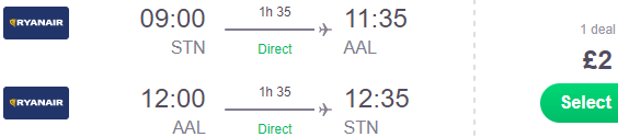 Ryanair sale: Return flights between London Stansted and Aalborg, Denmark just £2!