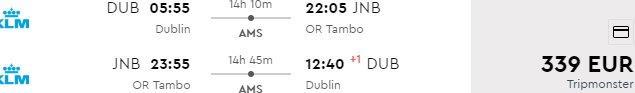 Air France / KLM flights to Johannesburg from Switzerland €393 or Ireland €339!