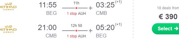 5* Etihad Airways: Fly from Belgrade to Sri Lanka from €390 or Japan €455!