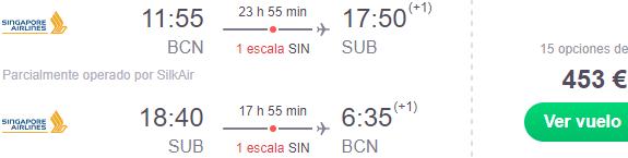 Fly from Barcelona to Indonesia (Surabaya, Yogyakarta or Lombok) from €453!