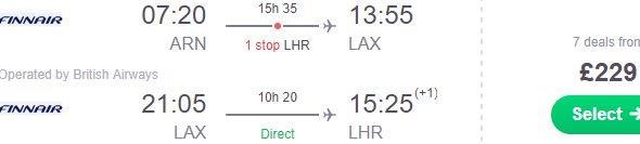 British Airways: Open-jaw flights Stockholm - Los Angeles - London £229 (€260)!