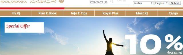 Royal Jordanian promotion code - 10% discount all flights!