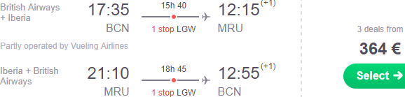 British Airways: Return flights from Europe to Mauritius from €364!