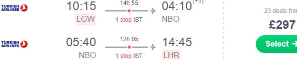 Return flights from the UK or Dublin to Nairobi, Keyna £297 or €322!
