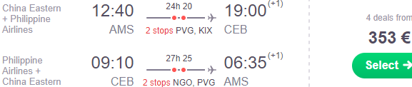 Cheap return flights from Amsterdam to Philippines (Cebu, Manila) from €353!