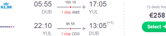 Cheap return flights from Dublin to Montreal, Canada from €258!