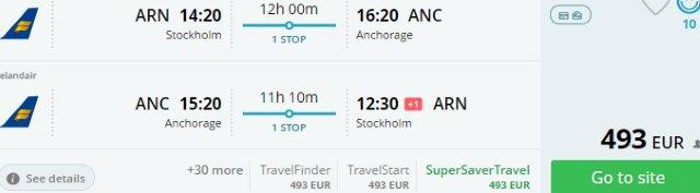 Icelandair: Return flights from Europe to Anchorage, Alaska from €493!