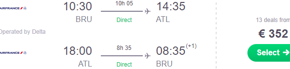 Cheap non-stop flights from Brussels to Atlanta from €352!