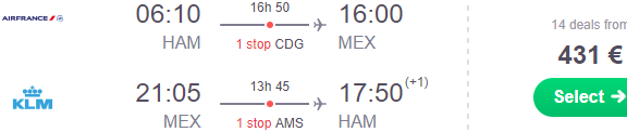 Cheap flights to Mexico City from Germany €431 or Scandinavia €513!