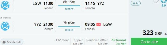 Air Transat non-stop flights from London to Canada from £323!