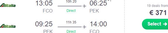 Alitalia - Direct flights from Rome to Beijing €371!