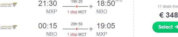 Peak season flights from Milan to Kenya €348, Bangkok €376 or Zanzibar €394!