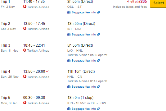 Round-The-World flights to Istanbul, Los Angeles, Hawaii & South Korea £831 / €937!