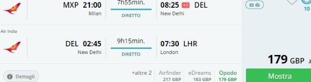 Open-jaw flights Italy / Spain to India return London UK from £179 / €201!