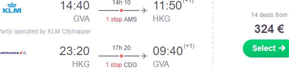 Air France / KLM cheap flights Geneva to Hong Kong €324 or South Korea €362!