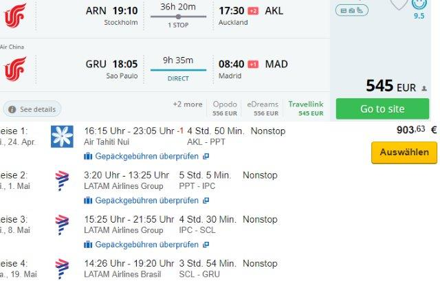 RTW flights to New Zealand, French Polynesia, Easter Island, Chile & Brazil from €1449 or £1351!