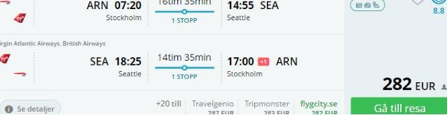 Virgin Atlantic: Fly from Stockholm to Seattle from €282!