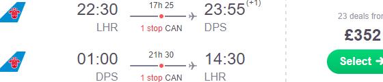 Cheap return flights from London Heathrow to Denpasar Bali for £352(€395)!