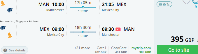 Cheap return flights from Manchester to Mexico City from £395!