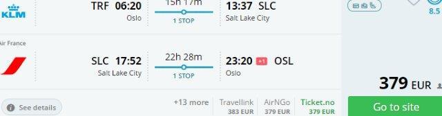 SkyTeam return flights from Norway to Salt Lake City, Utah from €379!