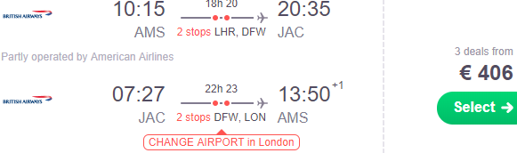 British Airways: Cheap return flights to Yellowstone National Park €388 or £327!