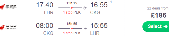 Error fare return flights London to Chinese cities from £186!