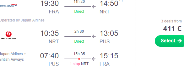 JAL cheap multi-city flights Frankfurt to Japan & South Korea €411!