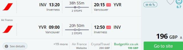 Cheap return flights from the UK to Vancouver or Calgary already £196!