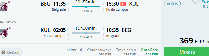 Cheap flights from Belgrade to Kuala Lumpur from €369 return!