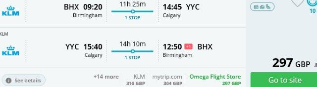 Fly cheap with KLM to Calgary or Edmonton from the UK £297 or Spain €327!