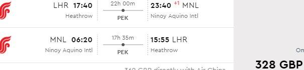 Air China cheap return flights London to Asia from £328!