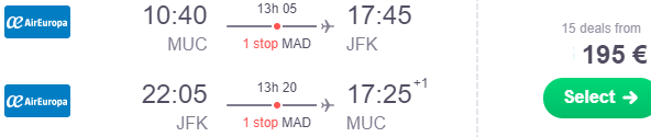 Error fare return flights from Germany to New York from €190!