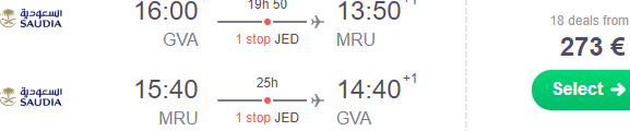 The cheapest return flights from Geneva to famous Mauritius from €273!