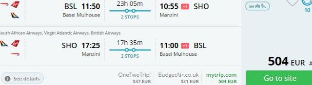 Return flights from Switzerland or Dublin to Swaziland from €504!