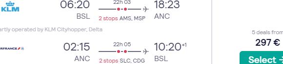 Cheap return flights from Switzerland or Vienna to Alaska from €297!