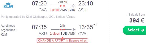 Fly cheap to Asunción, Paraguay from Geneva €394 or Vienna €461!