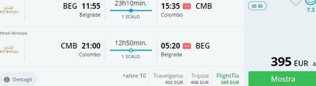 Etihad flights to Sri Lanka from Belgrade €395 or Germany €411!
