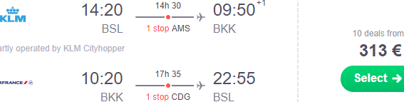 KLM discounted flights from Switzerland to South East Asia or Africa from €313!