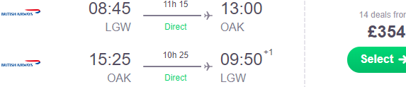 British Airways cheap non-stop flights London to California (Oakland) £354!