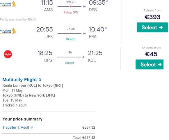 RTW flights to Bali, Kuala Lumpur, Tokyo and New York from €1026!