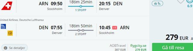 Fly to Denver in Colorado from Scandinavia from €279 or France €317!