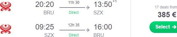 Cheap non-stop flights from Brussels or Madrid to Shenzhen, China €385!