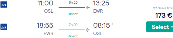 Fly non-stop from Oslo to New York from €173!