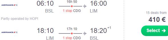 Cheap return flights to Lima, Peru from Switzerland €410 or the UK £430!