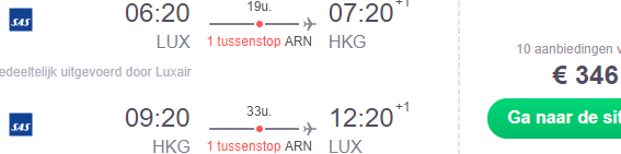 SAS Scandinavian flights from Europe to Hong Kong from €346!