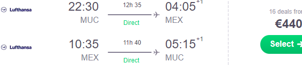 Lufthansa: Direct flights from Gemany to Mexico City €440!