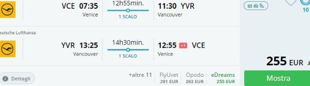 Super cheap return flights from Italy to North America from €255!