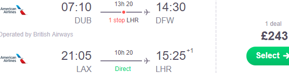 Open-jaw flights from Dublin to Texas returning from California to London £243 (€276)!