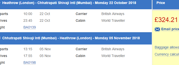 British Airways promo sale: Non-stop from London to Mumbai from £324!