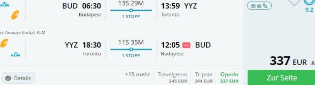Cheap return flights from Budapest to Toronto from €337!